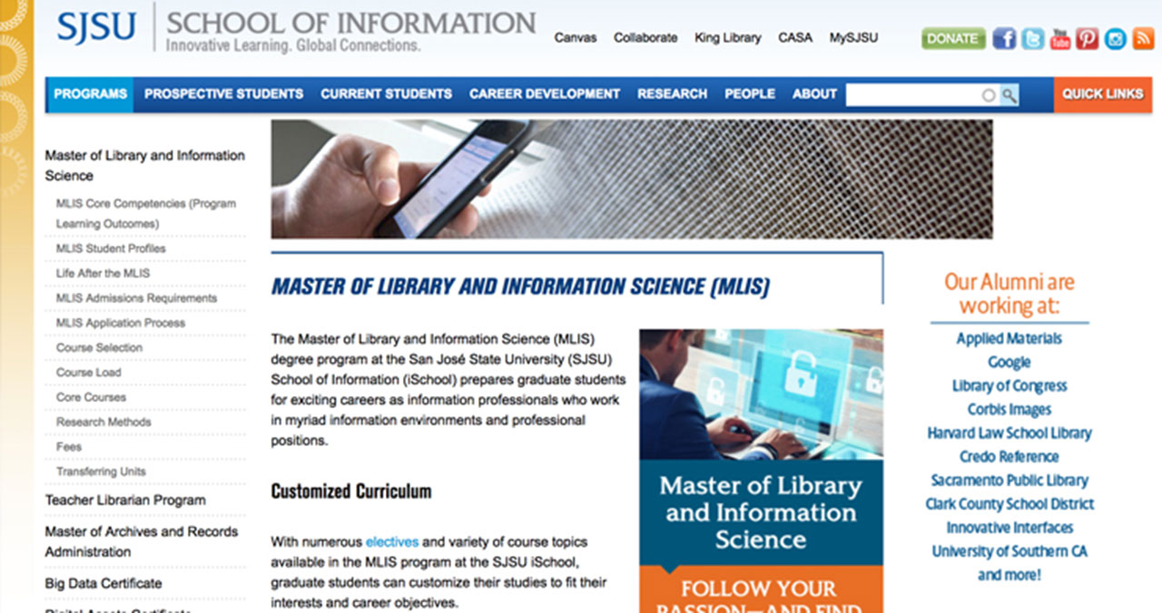SJSC masters information sciences