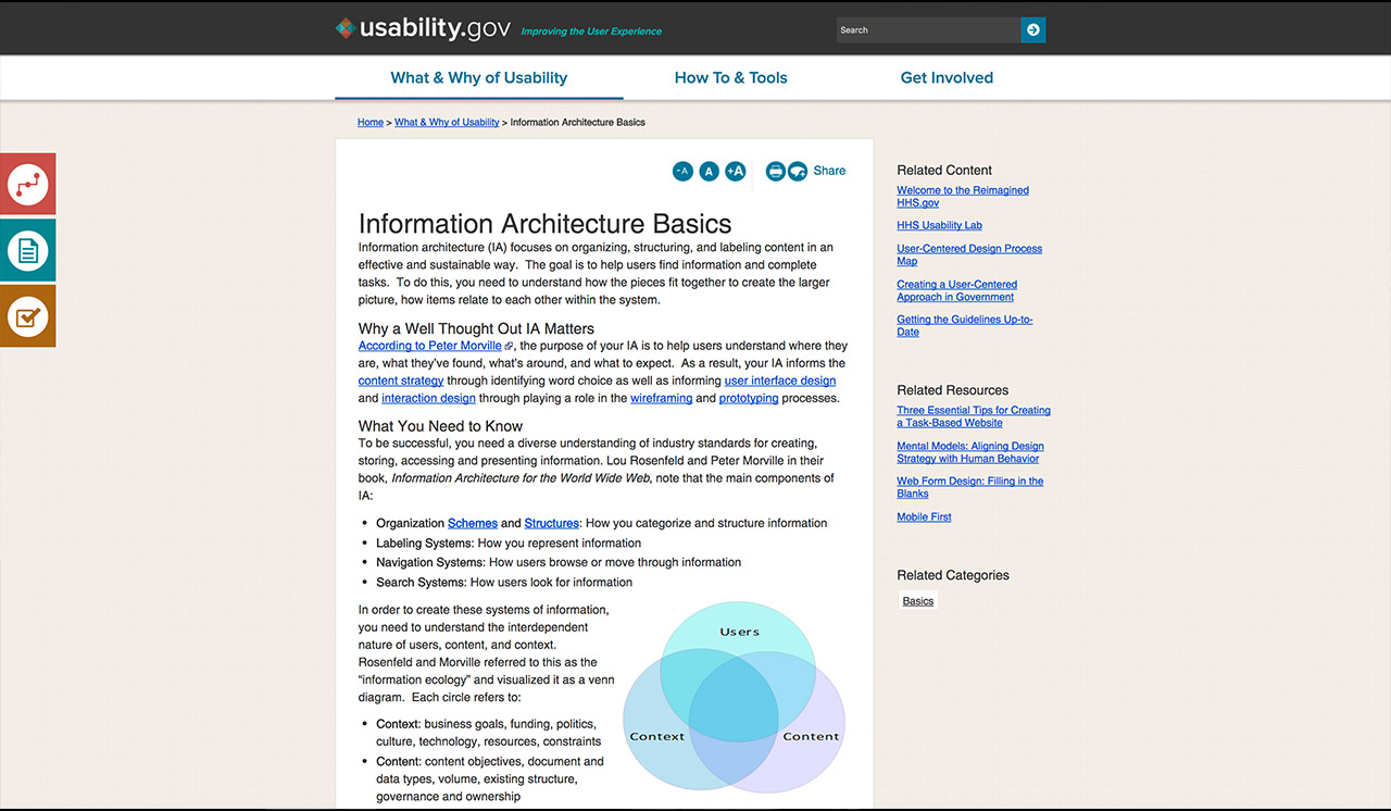 IA Planning Venn Diagram - usability.gov