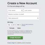 Facebook registration