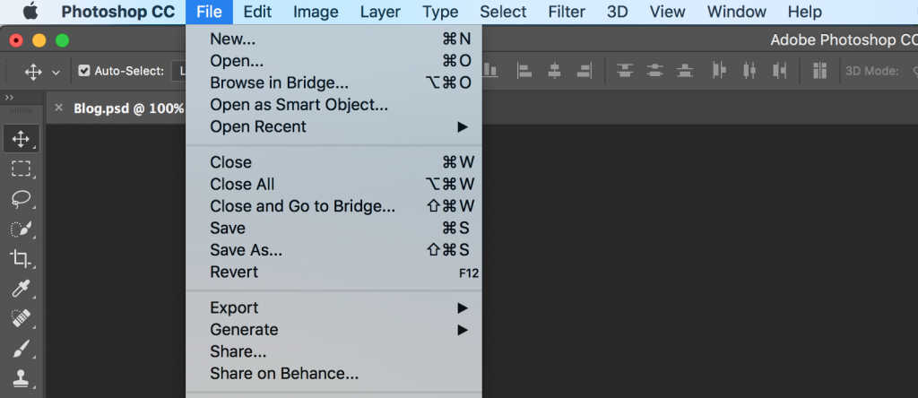 photoshop command menu
