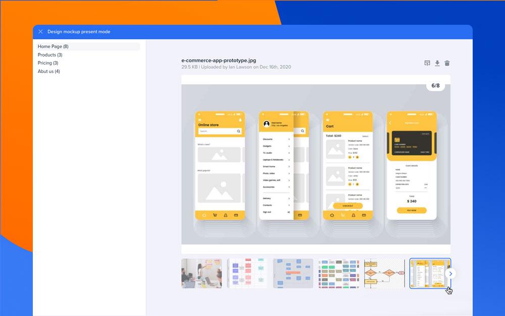 Design Mockups presentation mode